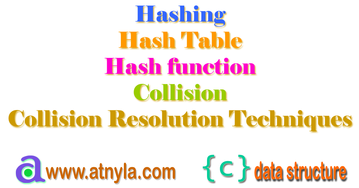 Hashing, Hash table, hash function, collision and collision resolution technique
