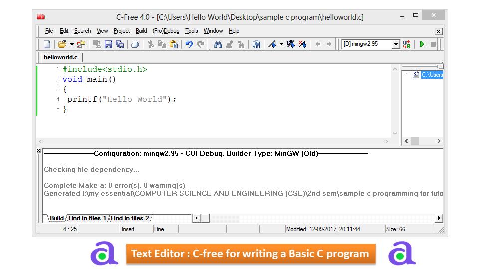 How to Write a Basic Program in C | atnyla